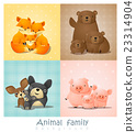 Set of cute animal family portrait 23314904