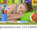 student girl sleeping  at art class 23316006