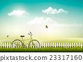 Summer meadow landscape with a bicycle. Vector. 23317160