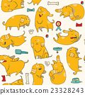 Fun puppies in seamless pattern in bright colors 23328243