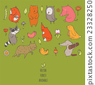 Naive forest animals. Hand drawn colorful set 23328250