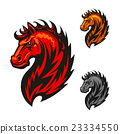 Red horse with bright flaming mane 23334550
