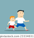 Cartoon father and son are jogging together 23334631