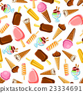 Chocolate and fruity ice cream seamless pattern 23334691