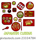 Japanese seafood dinner with dessert sketch icon 23334784