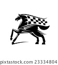 Horse with mane as checkered race flag symbol 23334804