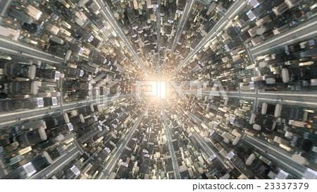 Conceptual flytrough over the fantastic city 23337379