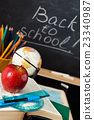 School supplies against blackboard. 23340987