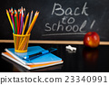 School supplies against blackboard. 23340991
