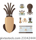 infographic brown Squid Cartoon set 23342444