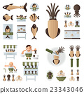 infographic Squid And Sea Food Set brown 23343046