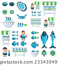 infographic And Sea Food Set blue, green color 23343049