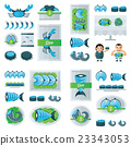 fresh Seafood infographic blue, green color 23343053
