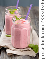 Strawberry milkshake. 23350506