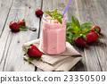Strawberry milkshake. 23350509