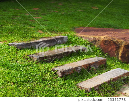 Walkway Pathway With Stepping Stones Stairs Uphill