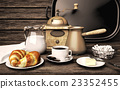 Breakfast, with, delicious, coffee,  croissants 23352455