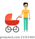 Father with a Baby Carriage Banner 23352464