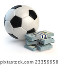 Soccer or football ball and packs of dollars.  23359958