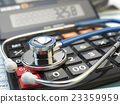 Health care costs. Stethoscope and calculator 23359959