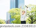 businesswoman, stretching, lunch break 23363013