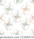 Seamless pattern scetch of chinese noodles box 23366429