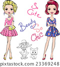 Vector Pop Art cute fashion girls with dog and cat 23369248