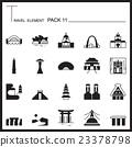 Travel Element Graph Icon Set 11.Landmark thin  23378798