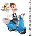 Cartoon Waiter on Scooter Moped With Hot Dog 23385531