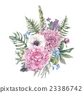 Vintage floral greeting card with anemones 23386742