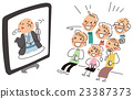 TV 중계의 만담을보고 웃는 가족 23387373