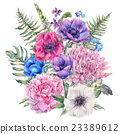 Watercolor floral greeting card with anemones 23389612