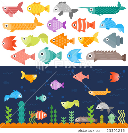 Stock Illustration: Underwater fishes vector set.
