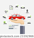 Car insurance services. Hands holding red car. 23392966