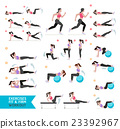 Woman workout fitness, aerobic and exercises. 23392967