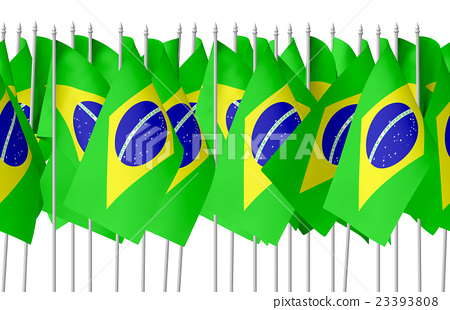Many small brazilian flags in row seamless 23393808
