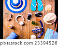 Summer vacation composition. Sandals, hat and 23394526