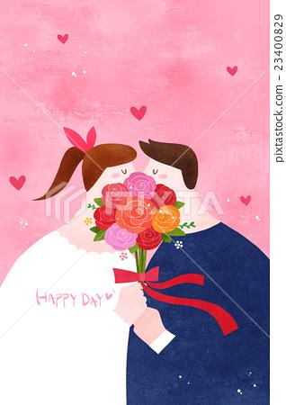 bouquet, couple, kiss 23400829