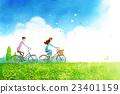 自行車 草原 草地 23401159