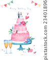 蛋糕 香檳 婚禮 23401896