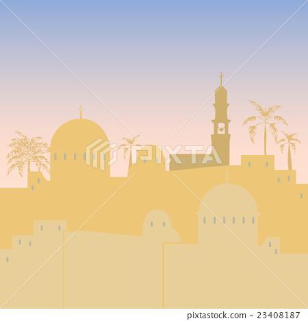 Jerusalem skyline silhouette flat design 23408187