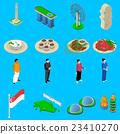 Singapore Travel  Symbols Isometric Icons Set 23410270