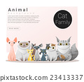 Cute animal family background with Cats 1 23413337