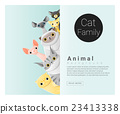 Cute animal family background with Cats 2 23413338