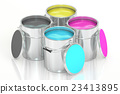 Cans with color paint, CMYK concept. 3D rendering 23413895