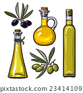 Set of olive oil bottles with black and green 23414109