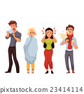 Set of sick people cartoon style vector 23414114