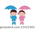 男孩和女孩与伞雨衣 23422463