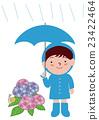 男孩与雨衣弹出雨伞和绣球花 23422464