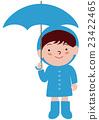 一个男孩用雨伞雨衣 23422465